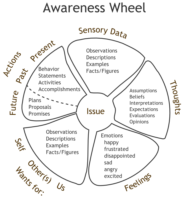 The Awareness Wheel Diagram For Critically Thinking About A Personal