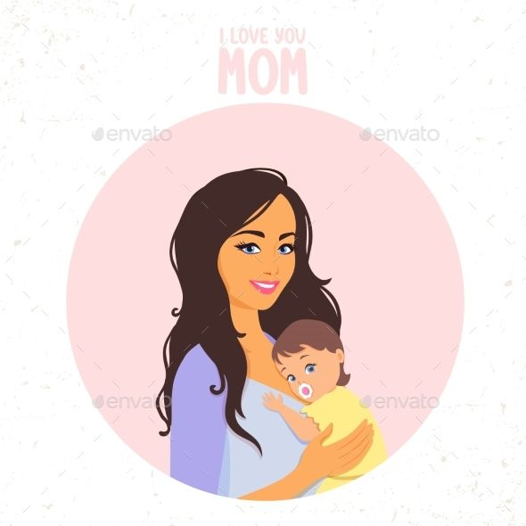 Mom With Baby Mom Characters Baby Illustration Baby Cartoon