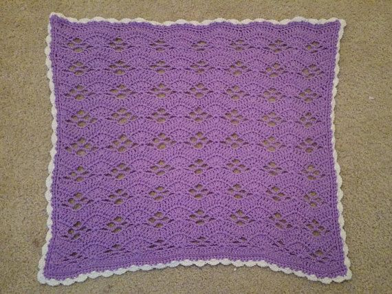 Purple and White Waves Baby Blanket | Borde festoneado, Púrpura y ...
