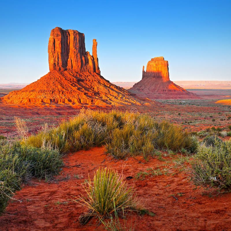 Desert Landscape In Arizona Monument Valley Orange Red Rocks Buttes And Plan Ad Monument Valley Monument Valley Arizona Landscape Desert Landscaping