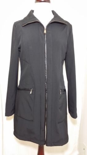 Michael Kors Black Coat Jacket Leather Trim Size S