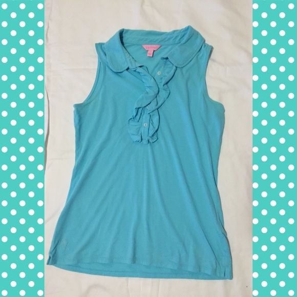 Lilly Pulitzer cotton top Blue top with Ruffles. EUC. No trades Lilly Pulitzer Tops Tank Tops