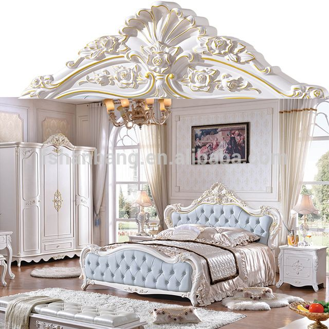 Wholesale Luxury French Royal Wood Double Bed Designs King Size
