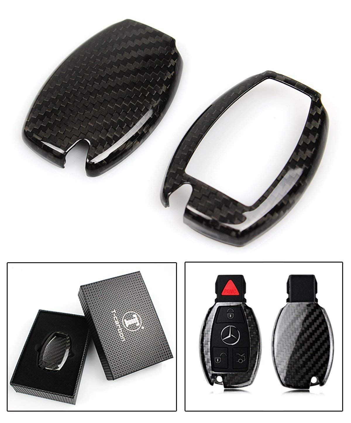 Cuztom Tuning Luxury Carbon Fiber Key Protective Case Cover For Mercedes Benz Keyless Entry Smart Fob Price Protective Cases Pure Products Leather Keychain