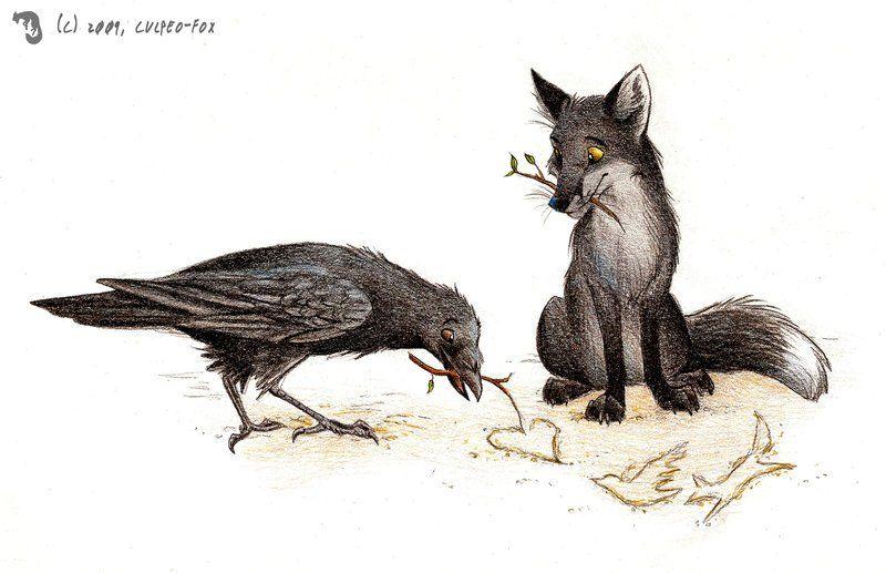 Лиса и вороны картинки