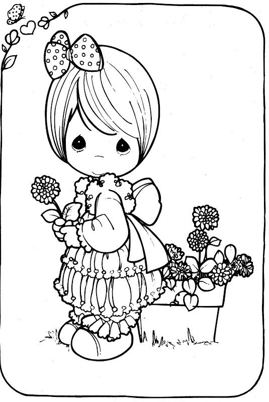 Girl with a flower - free coloring pages precious moments | Coloring ...