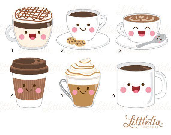 Cute hand drawn cartoon style coffee cup