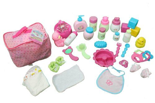 Save $8.00 on Mommy Me Baby Doll Care Set - with 30 Accessories in Bag; only $11.99 + Free Shipping #dollcare