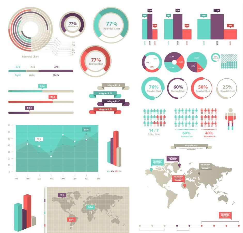 A huge collection of 100+ free vector infographic elements ...