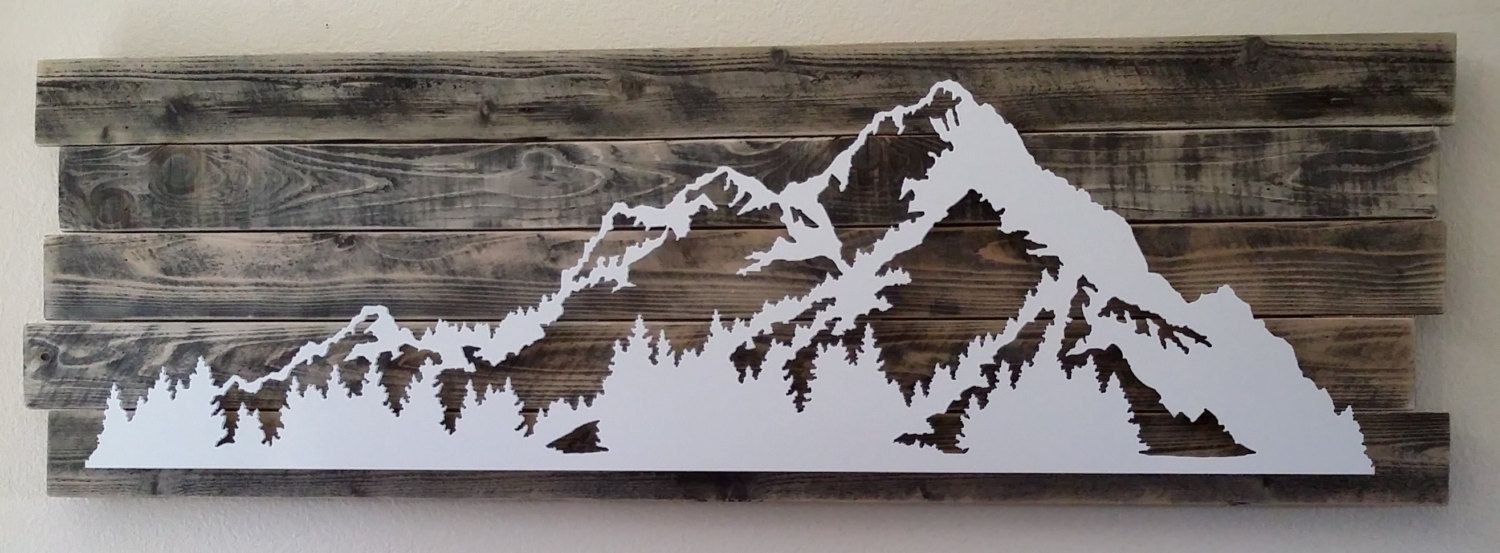 Classic metal and wood mountain scene wall art decor by