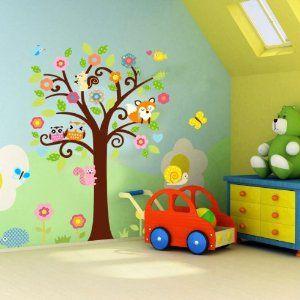 Songmics Wandtattoo Dschungel Waldtiere Eulen Vögel Fuchs Baum Eichhörnchen für Kinderzimmer Bunt Gr. 122 x 128cm FWT010: Amazon.de: Küche &...