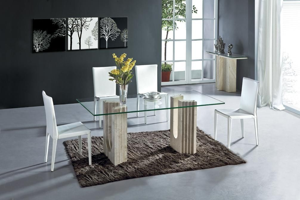 White Travertine Dining Table Set Luxury High Quality Natural Amusing High Quality Dining Room Sets Design Inspiration