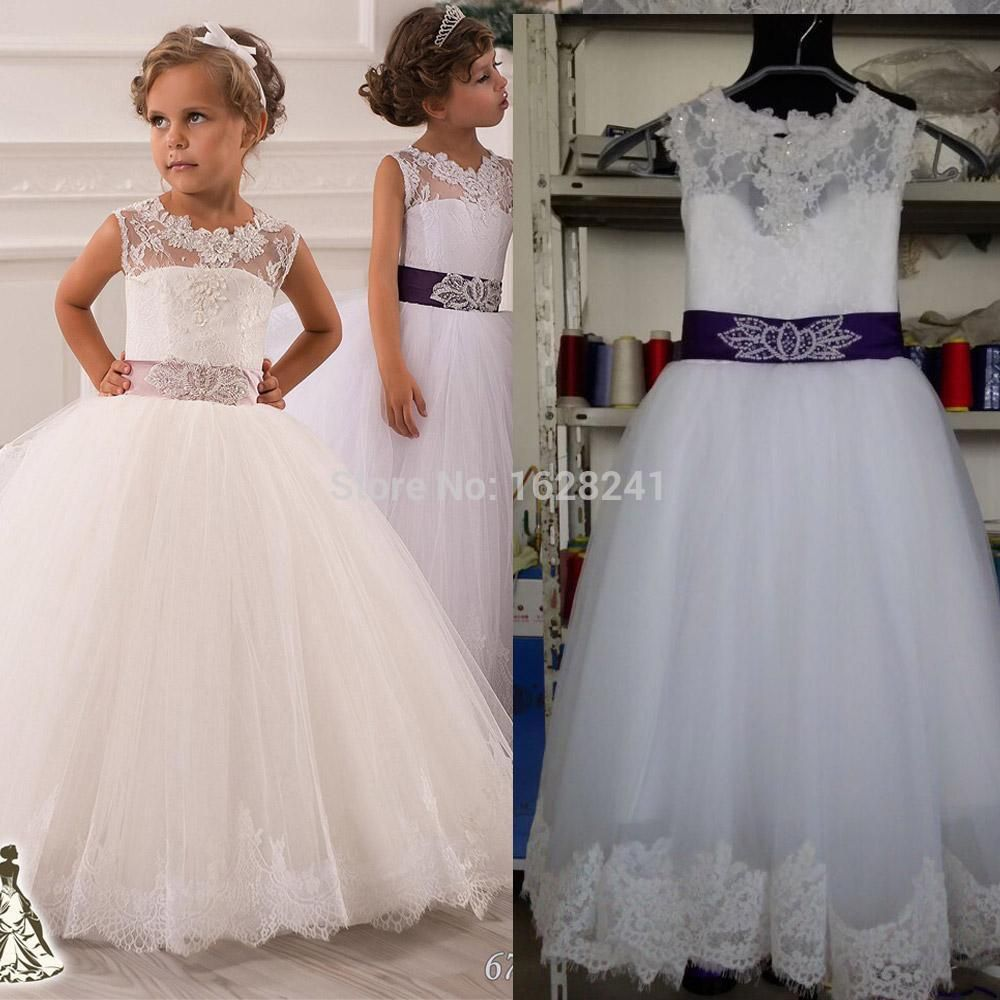 Click To Buy 2016 Flower Girl Dresses Keyhole Back And Lace Top