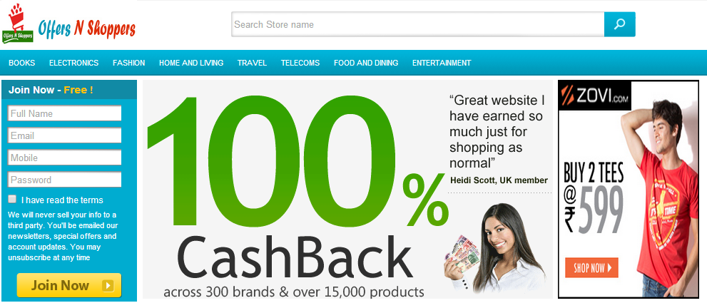 Offers N Shoppers deals in promo and coupon code, Cashback