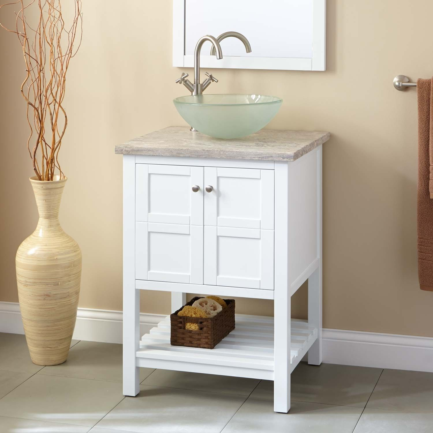 24 Everett Vessel Sink Vanity White 24 Inch Bathroom Vanity