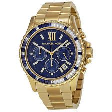 e29b960bd4db Michael Kors Everest Chronograph Navy Dial Gold-tone Ladies Watch MK5754