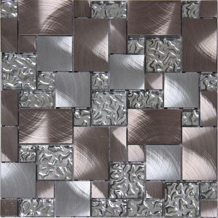 Square Drawbench Aluminum Metal Mixed Mirror Glass Mosaic Mesh Backing For Kitchen Backsplash Bathroom Shower Metal Panel 12x12 In Mosaics F Backsplash Backsplash Wallpaper Decorative Tile Backsplash