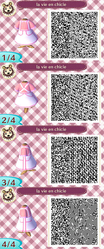 White And Pastel Pink Animal Crossing New Leaf Dress Qr Code