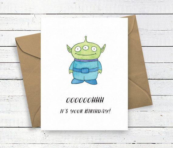 Toy Story Alien Birthday Card  Disney Pixar  by nicolejuliadesigns