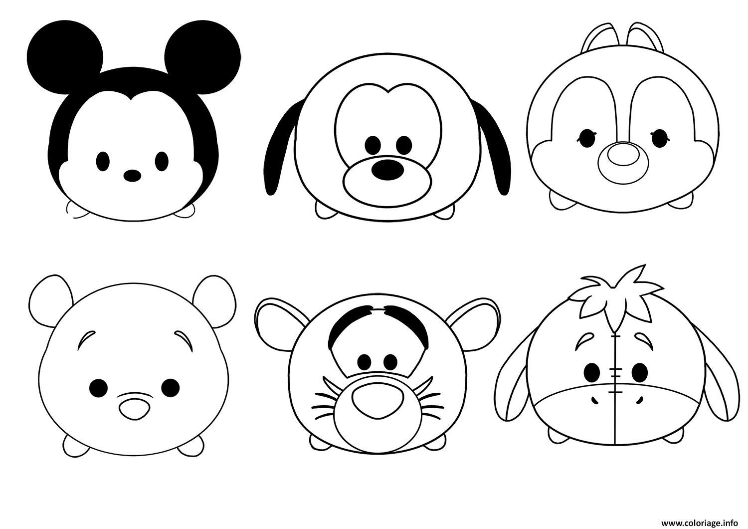 Coloriage tsum tsum disney facile enfant simple à imprimer