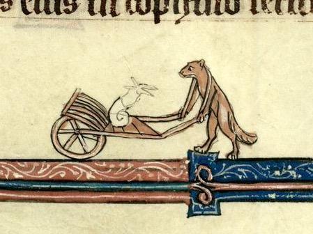 Fox transporting a snail in a wheelbarrow (Cambrai, MS 102, 13th c.)