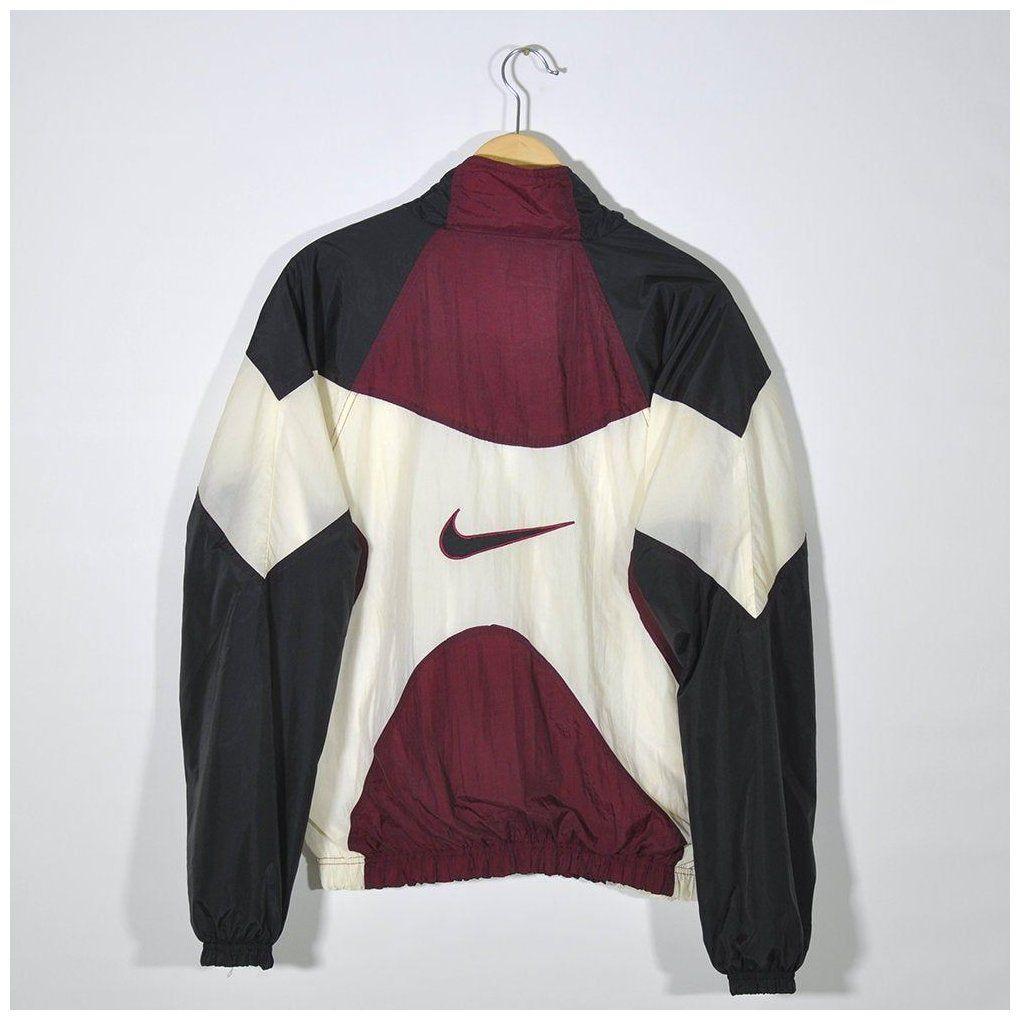 Nike Vintage 90s Nike Tracktop Windbreaker Jacket Multi Color Block Maroon Black Beige Nike Big Vintage Nike Windbreaker Windbreaker Outfit Vintage Jacket Men [ 1020 x 1020 Pixel ]