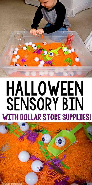 Halloween Sensory Activity: Dollar Store Bin #toddlerhalloween