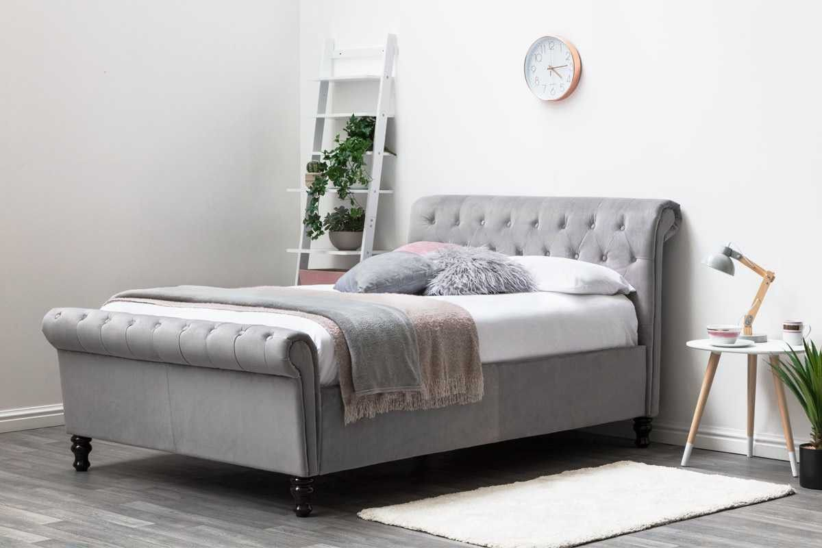 Terrific Lambeth Grey Velvet Lift Up Ottoman Storage Sleigh Bed Frame Caraccident5 Cool Chair Designs And Ideas Caraccident5Info