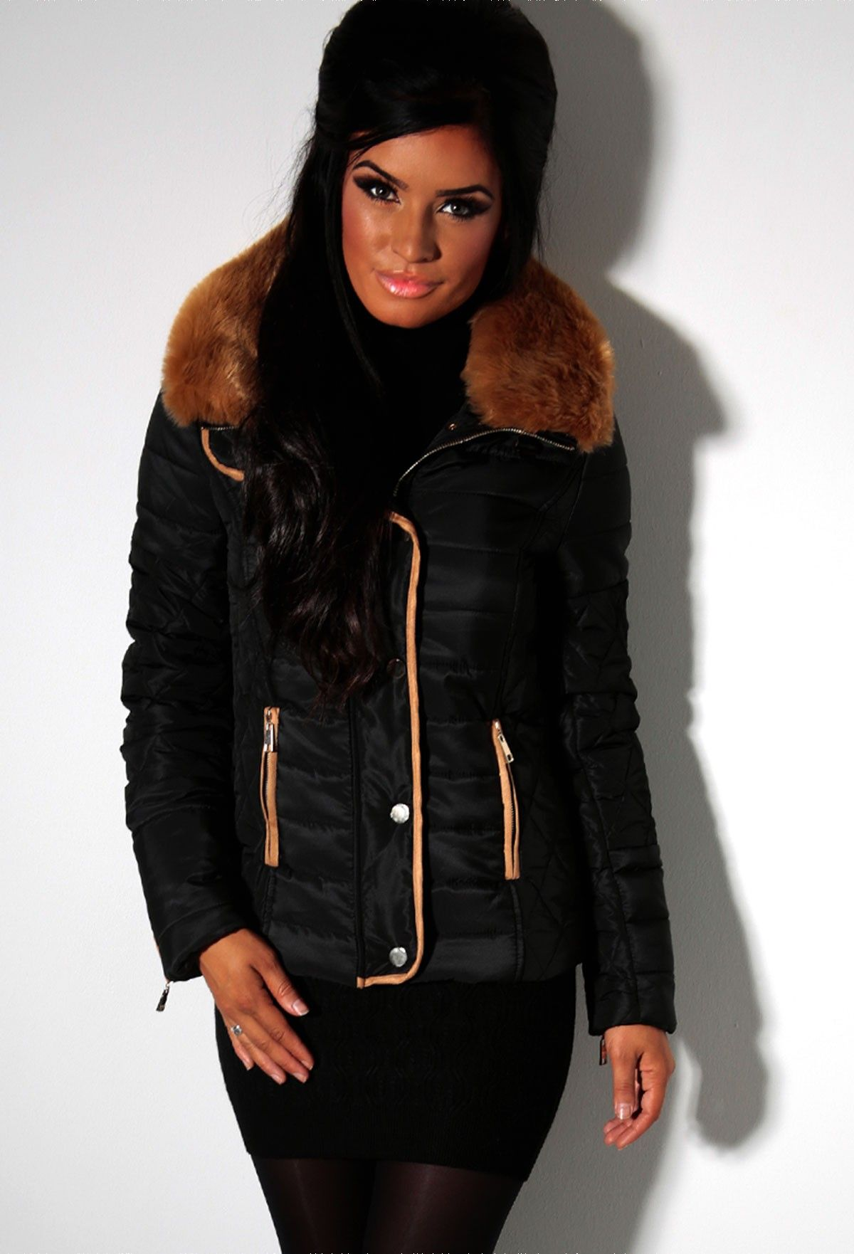 Mercedes Black Quilted Faux Fur Collar Jacket | Zip-up | Pinterest ...
