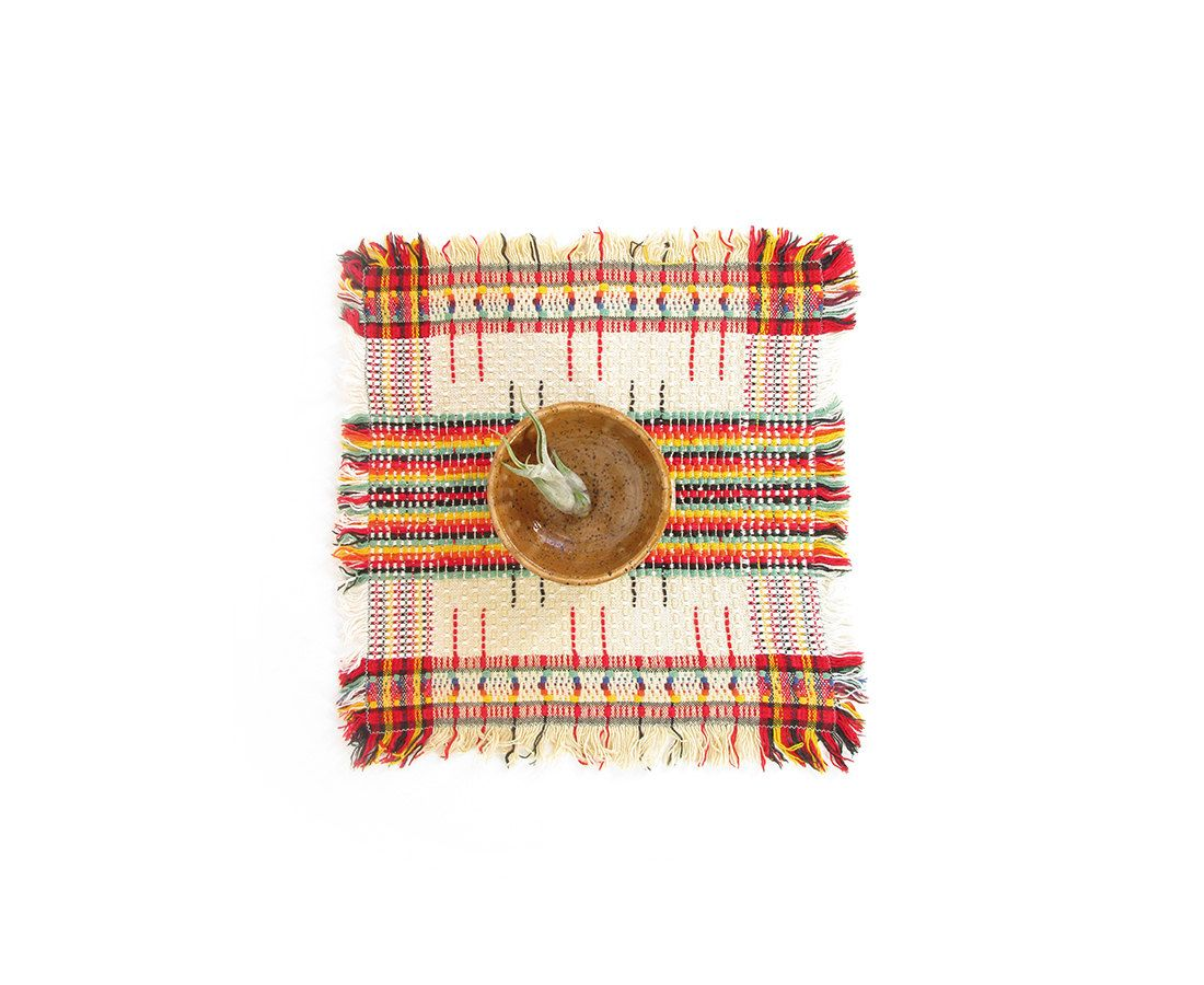 Vintage Woven Placemat   Small Square Table Linens   Cloth Napkins   Mid  Centuryu2026