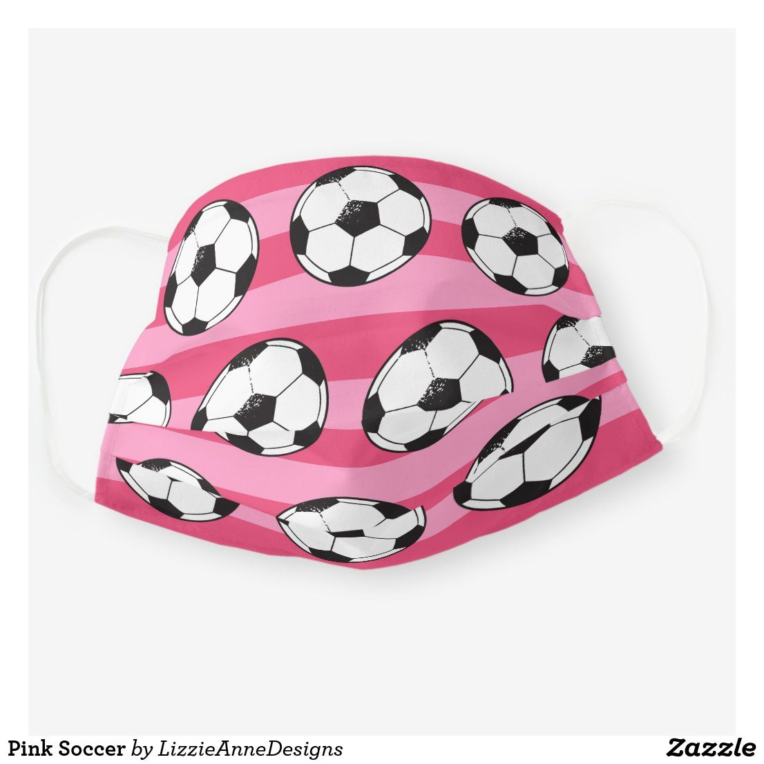 Pink Soccer Cloth Face Mask Zazzle Com In 2020 Face Mask Face Masks For Kids Animal Face Mask