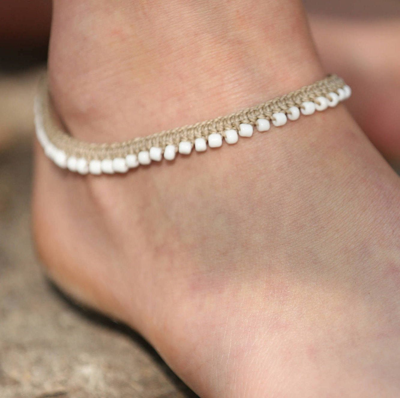 etsy market cord her for anklet anklets waxed pearl chic il boho everyday beach