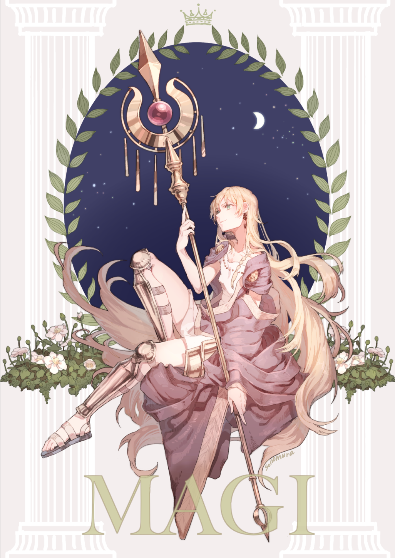 1boy armor artist name blonde hair braid copyright name crescent moon crown earrings flower - Titus wallpaper ...