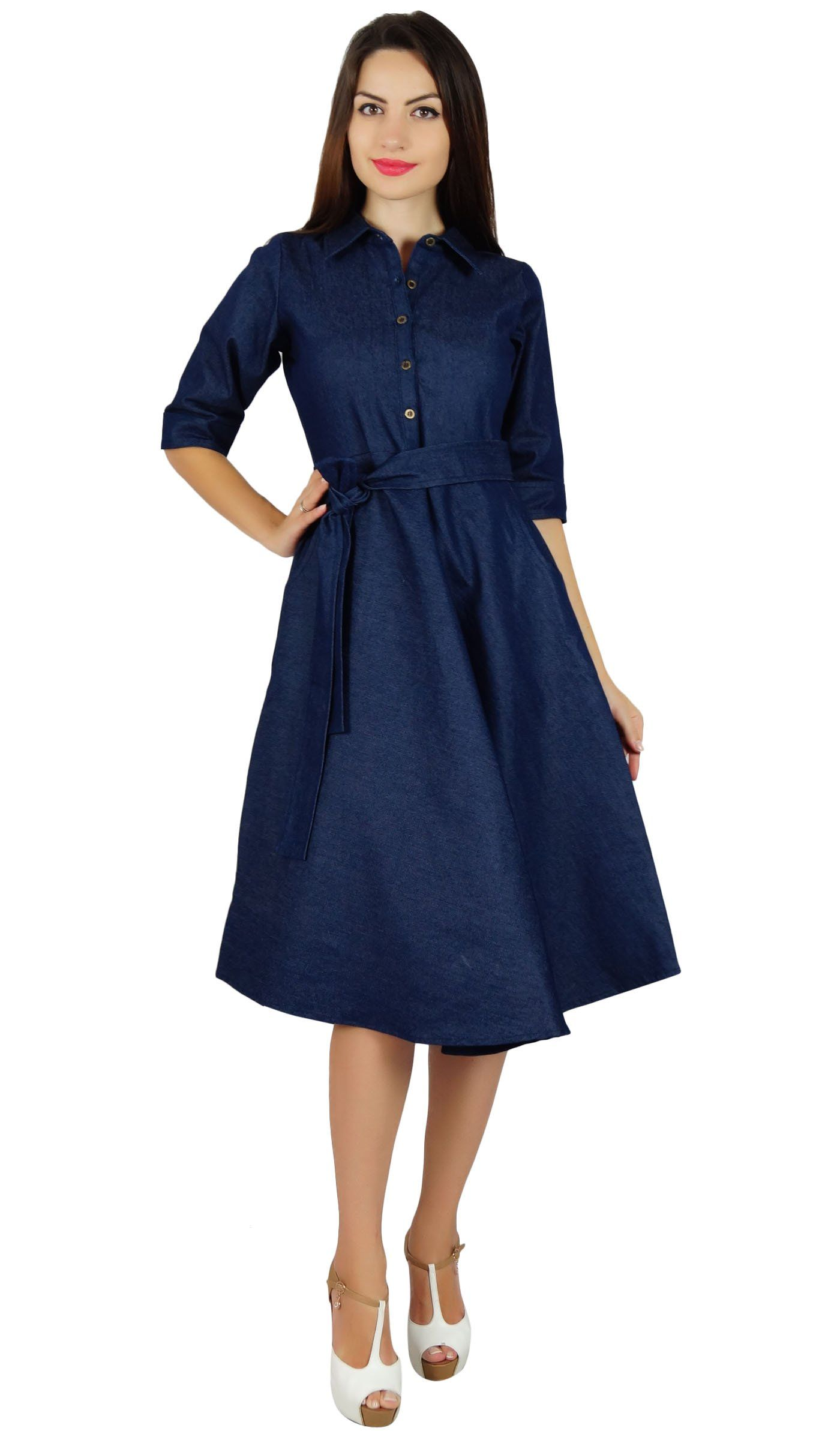 f73a2788fb5 Bimba Womens Blue Denim Shirt Dress With Pockets 3 4 Sleeve Casual Midi  Dresses   See this great product. (Note Amazon affiliate link)