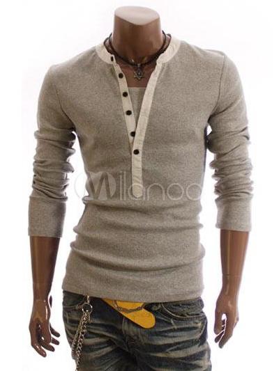 T-shirt homme manches longues à boutons, gris clair   Men s Fashion ... e98c5b793759