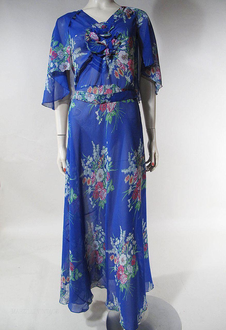 Bias Blue Cerulean Dress Chiffon Cut Floral Evening 1930's 30 Silk wqAXxRgg