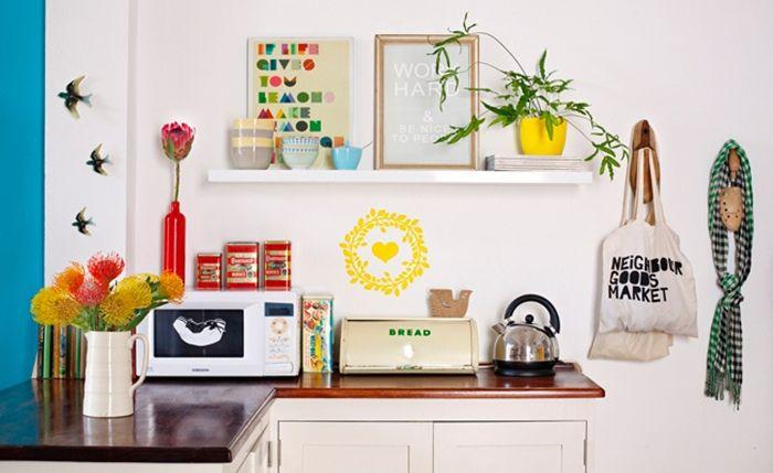 Shelves in kitchen.