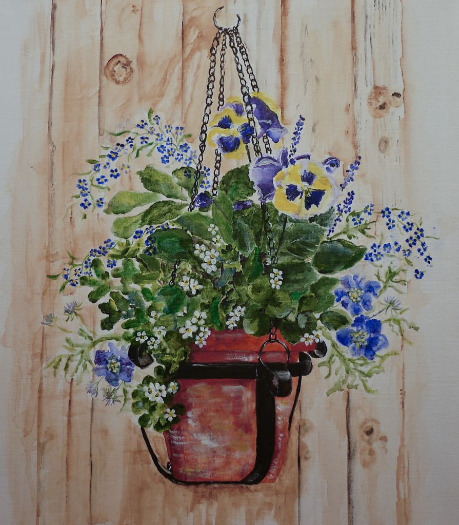 Acrylic Painting Of My Summer Hanging Basket By Sheila Horrocks