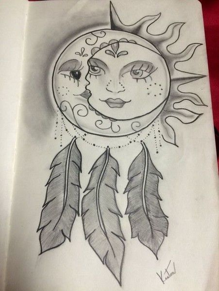 Bohemian Cool Sun And Moon Drawings Moon Tattoo Designs Dreamcatcher Drawing