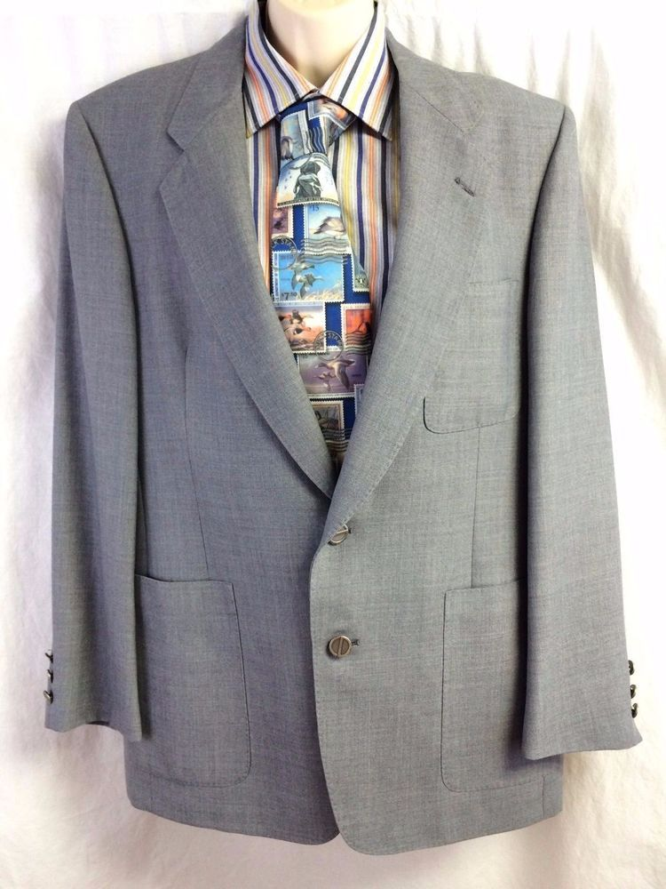 Christian Dior Monsieur Sport Coat 44 Lined Menswear Blazer Vented Denim Blue #ChristianDior #TwoButton