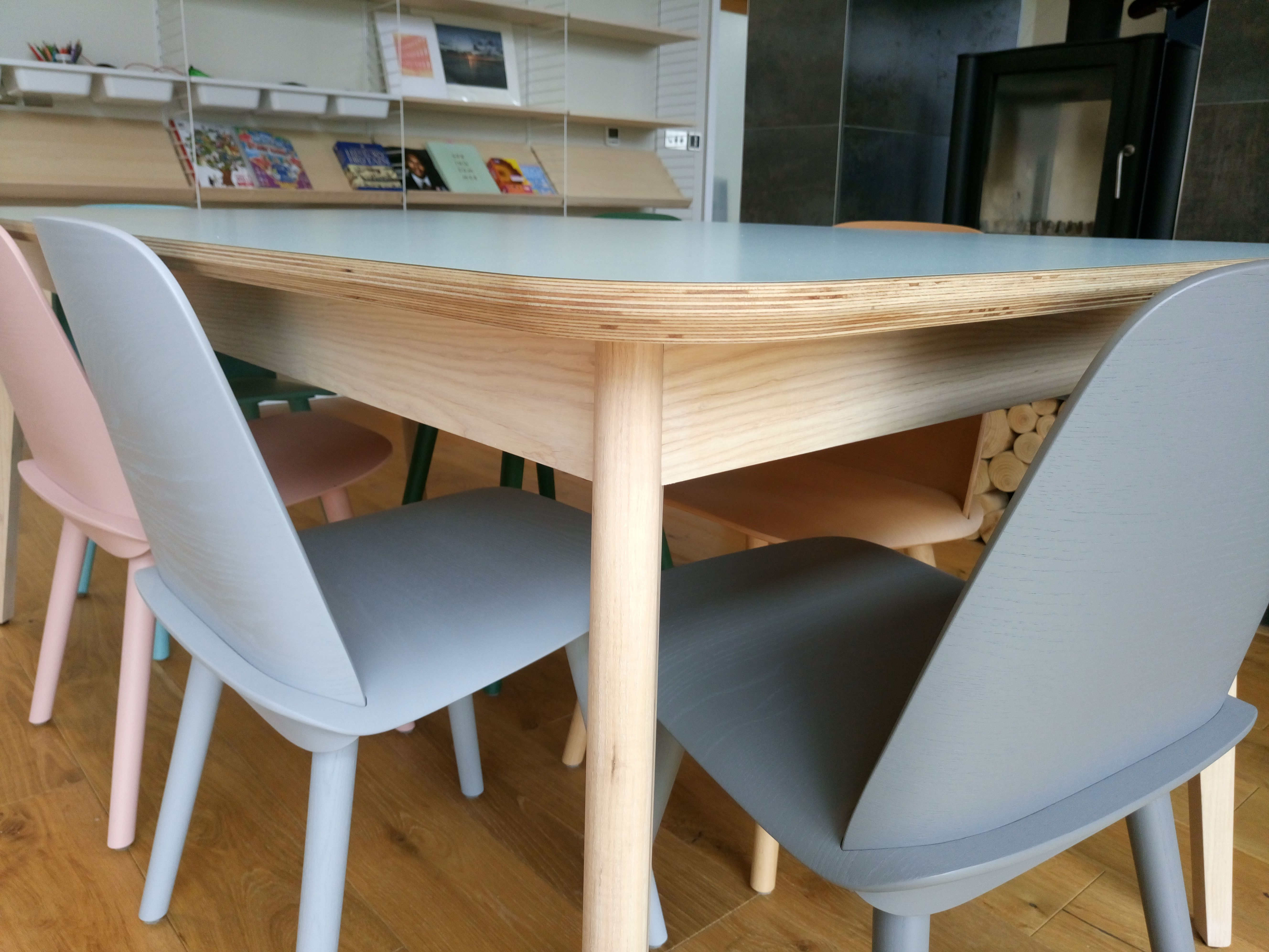 Birch Plywood table top with a laminated finish. Ash frame & legs ...