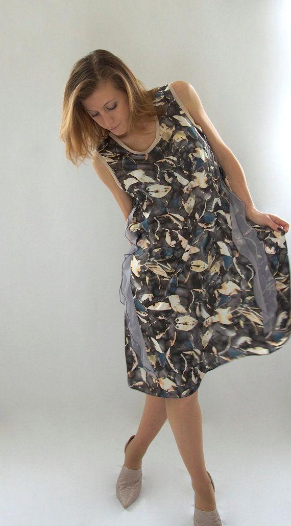 Grey Minimal Dress  Aline dress in printed silk by girlaboutfrocks, £65.00