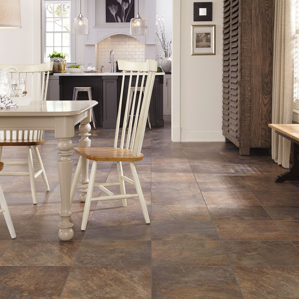 A natural slate look Adura Dakota is realistically colored with