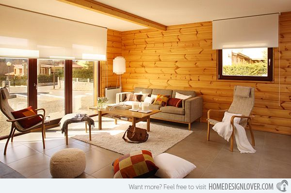 Lovely Wooden Panel Walls In 15 Living Room Designs Part 12