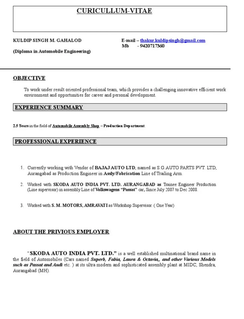 10 Automobile Fresher Resume Format Resume Automobile Engineering Biodata Format