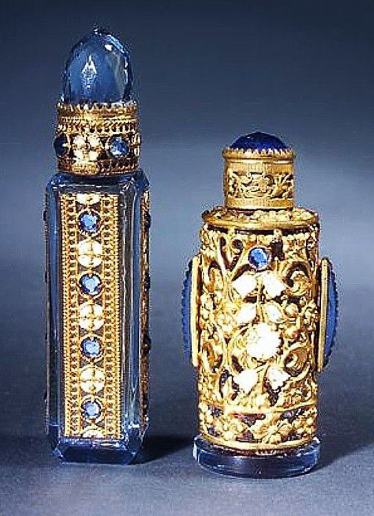 Two Czechoslovakian mini perfume bottles, blue and gold tone, circa 1920's.