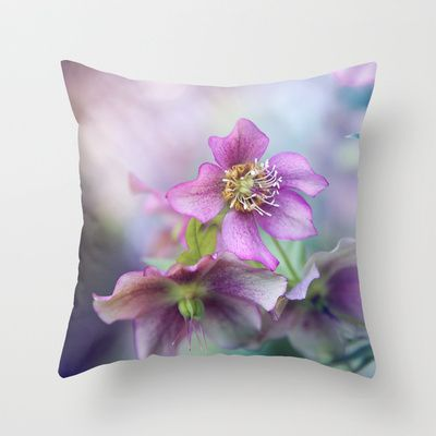 #hellebore Throw #Pillow by Sylvia Cook Photography - $20.00 #spring #flowers #purple #nature #floral #homedecor