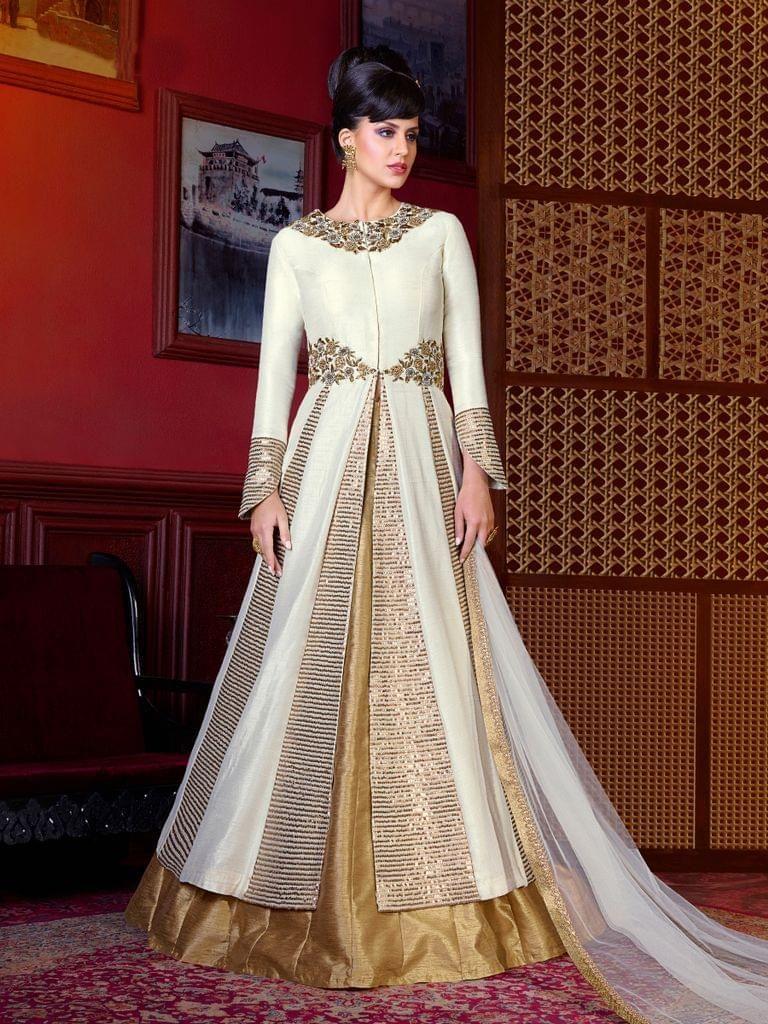 Raw silk wedding dress  Cream Raw Silk Embroidered Dress Material salwarsuit
