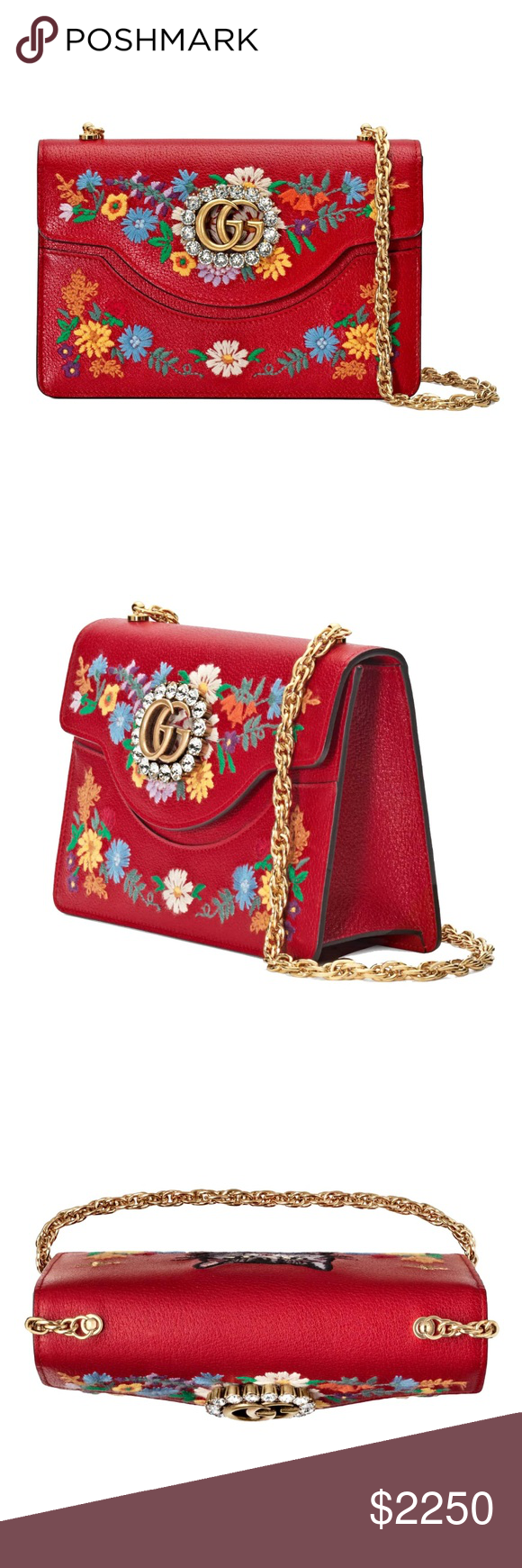 88f347b7e686 New Gucci Small Linea Ricami Floral Embroidered SAME DAY SHIPPING (ALL MY  ITEMS ARE IN STOCK). USPS 1-3 DAYS PRIORITY MAIL Authentic Made in Italy  New, ...