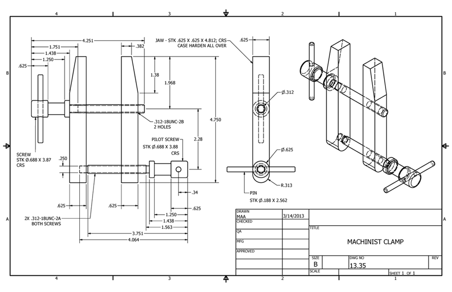 Autodesk Inventor 2013 : Assembly Drawing, 3d Model